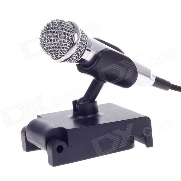 Desktop Mini Microphone w/ Holder Stand - Silver (3.5mm Plug / 170cm-Cable)