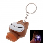 Cute Cat Style White Light LED Keychain - Brown + Yellow (3 x AG10)