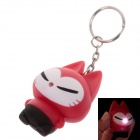 Cute Cat Style White Light LED Keychain - Red + Black (3 x AG10)