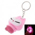 Cute Cat Style White Light LED Keychain - Pink + Deep Pink (3 x AG10)