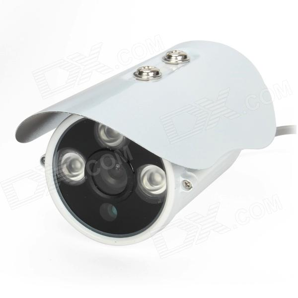HS-638TZHC 480TVL 6mm 1/3 CCD Waterproof Surveillance Security Camera w/ 3-IR LED - White