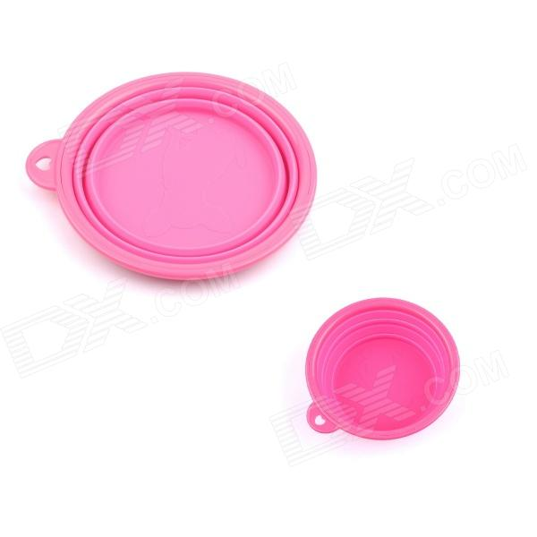 PANNOVO Pop-up Portable Foldable Pets Silicone Camping Water Food Bowl - Pink
