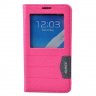 XUNDD Protective PU Leather Case Cover Stand w/ Visual Window for Samsung Galaxy Note 3 - Deep Pink