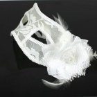 Chiffon With Flowers Feather Women's Mask - White