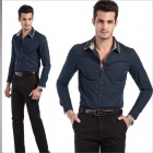 YH6657 Fashionable Men's Cotton Long Sleeve Shirt - Deep Blue (Size-XXL)