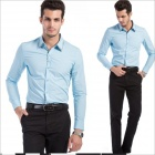 YH6657 Fashionable Men's Cotton Long Sleeve Shirt - Light Blue (Size-XXL)