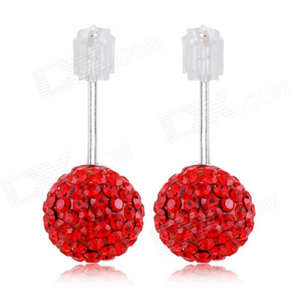 eQute ESIW33C4 Elegant 925 Sterling Silver 6mm Shiny Austria Crystal Women's Earrings - Red (Pair) sterling silver ear thread