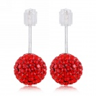 eQute ESIW33C4 Elegant 925 Sterling Silver 6mm Shiny Austria Crystal Women's Earrings - Red (Pair)