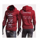 MUGE W106 Letters Printing Slim Fit Men's Fleece Jacket - Red (Size-L)
