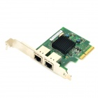 Winyao WY575T 1000Mbps PCI-E X4 Dual Port RJ45 Ethernet Network Server Adapter - Green