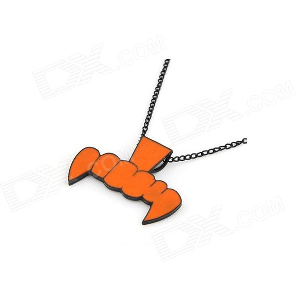 Fashionable Characteristic Teeth + Ox's Nose Style Women's Sweater Chain Necklace - Orange
