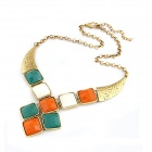 Exaggerated All-Match Quadrate Pattern Rhinestone Women's Necklace - Multicolored
