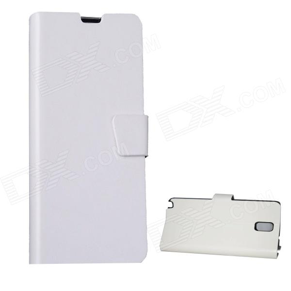 Mikasso Protective PU Leather Case Cover Stand w/ Card Slots for Samsung Galaxy Note 3 N9000 - White protective flip open pu case w stand card slots strap for samsung galaxy note 3 n9000 white