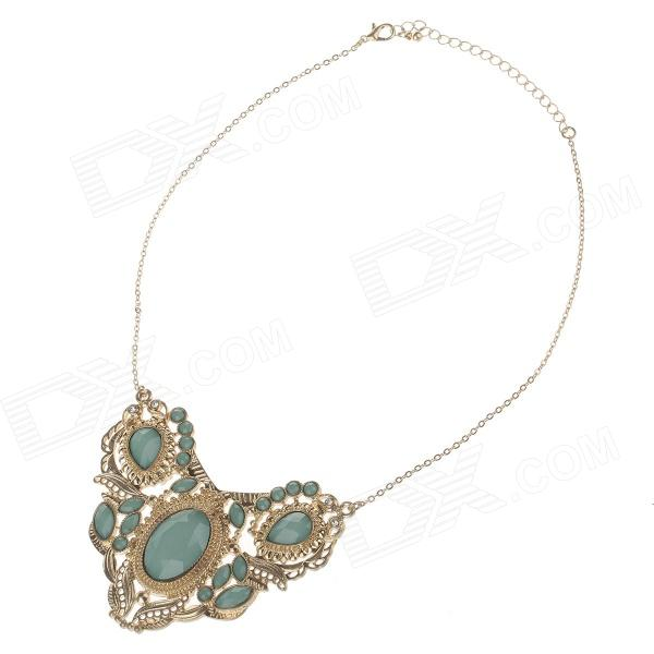 Fashionable Women's Sweater Necklace - Golden + Green