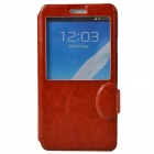 Stylish Protective PU Leather + Plastic Case Stand w/ Display Window for Samsung Galaxy Note 3 - Red