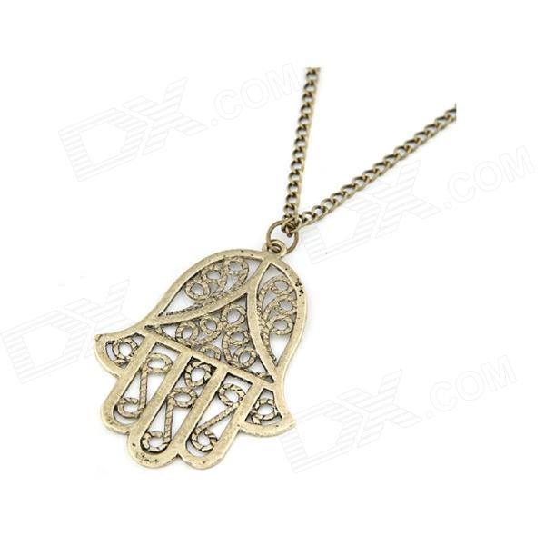 Fashionable Vintage Hamsa Pattern Necklace / Sweater Chain - Antique Copper