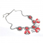 Euramerican Fashionable Resplendent Rhinestone Zinc Alloy Women's Necklace - Red