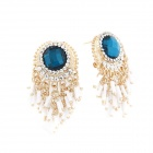 Euramerican Fashionable Rhinestone and Metallic Tassels Earrings - White + Golden + Blue (Pair)