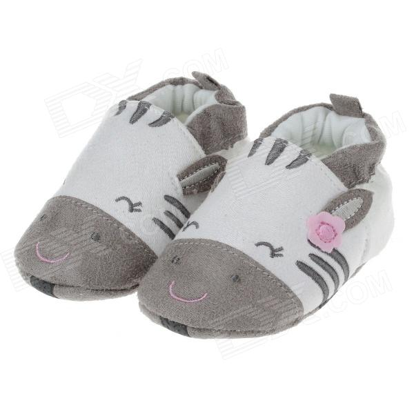 Cute Rabbit Comfortable Cotton Baby Shoes - Grey + White (3~6 Months / Pair)