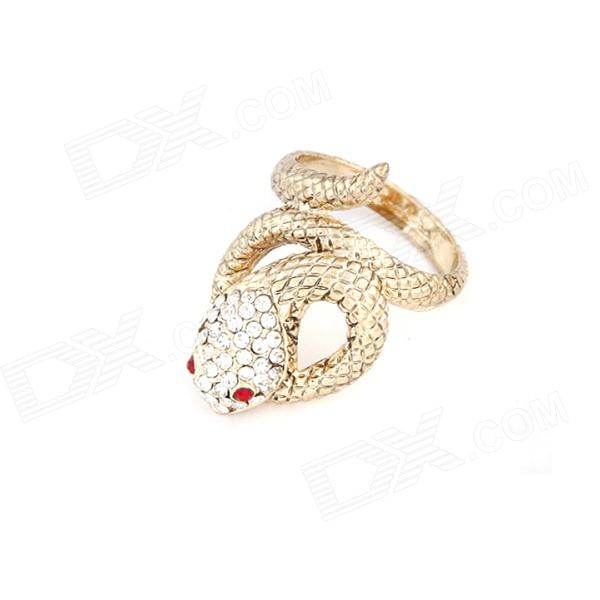 Fashionable Classical Lucky Snake Style Zinc Alloy + Rhinestone Ring - Golden