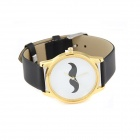 Stylish Creative Moustache Pattern Quartz Analog Wrist Watch - Black + White (1 x 377)