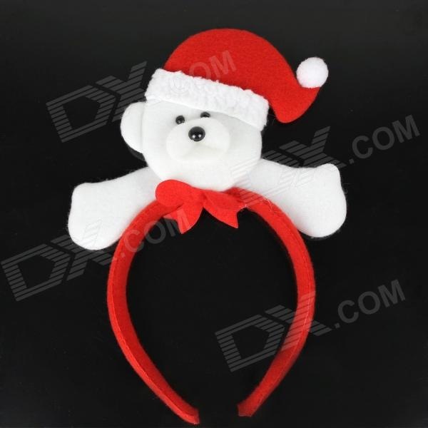 Cute Polar Bear Style Headdress Christmas Objects - White + Red