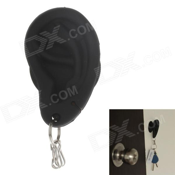 Creative Chuck Style Ear Shaped Silicone Suction Cup Earphone Cable Winder Reel - Black