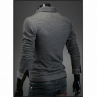 MUGE 8014 Men's Slim Fit Leisure Long Sleeve POLO Shirt -Grey (Size-XXL)