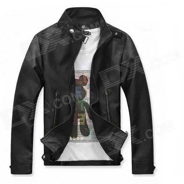 Fashionable Men's Slim Fit PU Leather Jacket - Black (Size-L)