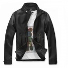 Fashionable Men's Slim Fit PU Leather Jacket - Black (Size-M)