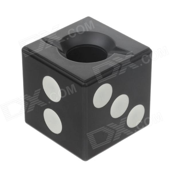 Anya D406 Creative Dice Style Decorative Plastic Ashtray - Black + White creative oil drum shaped stainless steel ashtray pen holder black white