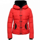 Women's Casual Hooded Short Cotton Coat - Red + Black (Size-M)