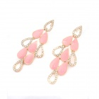 Euramerican Oil Drip Water Drops Pattern Earrings - Pink + Goden