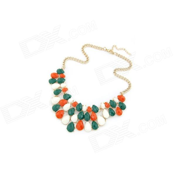 Fashionable Crescent Style Beads Zinc Alloy Women's Necklace - Multicolored fenlu fashionable fluorescent color flower women s necklace multicolored