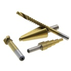 Chamfer / Step /Tapered Cone /Saw Drill Titanium Coated Hole Cut Tool Set - Golden + Silver