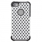 Stylish Lattice Style Protective Plastic + Silicone Back Case for iPhone 5 / 5 / 5s - White + Black