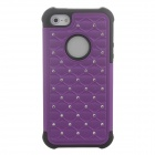 Stylish Plastic + Silicone Back Case w/ Rhinestone for Iphone 5 / 5c / 5s - Dark Purple + Black
