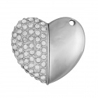 USB 2.0 Diamond-stud Heart Shape Flash Driver Disk - Silver (8GB)