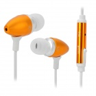 Universal 3.5mm In-Ear Earphone w/ Microphone / Cable Control - White + Golden