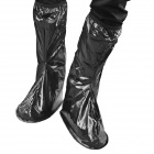 Casual Waterproof Boot Silicone Shoes Cover w/ Reflective Tape for Men - Black (EUR Size 44 / Pair)
