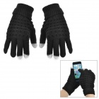 Universal Women's Two-Finger Capacitive Screen Touching Hand Warm Gloves - Black (Pair / Free Size)