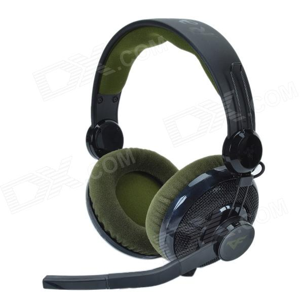 RAZER Carcharias Stylish Stereo Professional PC Gaming Headset with Microphone - Army Green + Black original xiberia v2 led gaming headphones with microphone mic usb vibration deep bass stereo pc gamer headset gaming headset