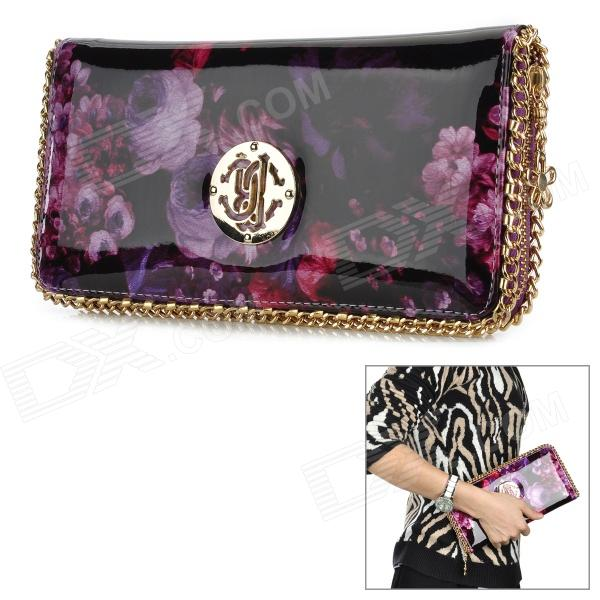 Oil Painting Pattern Fashion PU Zipper Purse for Women - Purple