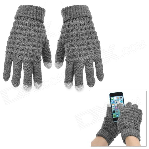 Fashion Knitted Cotton Capacitive Screen Touch Gloves for Women - Grey (Pair)