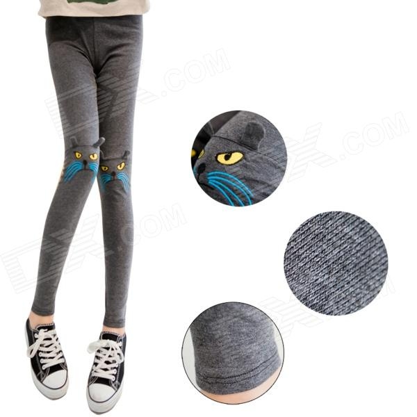 DDK-08 Woman's Fashionable Warm Lint Lining Thick Leggings w/ Cat Knee Detail - Grey