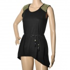 DJL1343 Fashion Cotton Blend Sleeveless Dress / Top Clothes for Women - Black (Free Size)