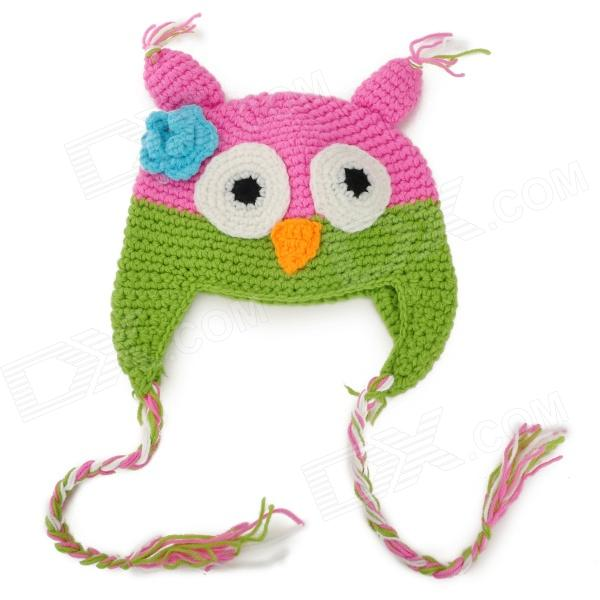 Owl Style Cute Woolen Warm Hat for Kids - Green + Pink