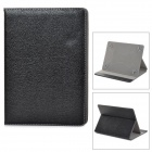 Lychee Pattern Protective PU Leather Case w/ Stand for iPad Air - Black