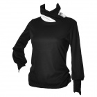 GS1919 Fashion Cotton Long-Sleeves Bottoming Shirt for Women - Black
