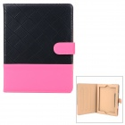 Protective Flip Open PU Case w/ Stand for Ipad 2 / 3 / 4 - Black + Deep Pink